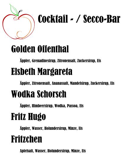 Getränkekarte Cocktail und Secco-Bar Kelterfest 2013